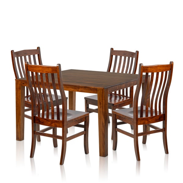 Piece Solid Maple Wood Dining Set With Cherry Finished Square Table