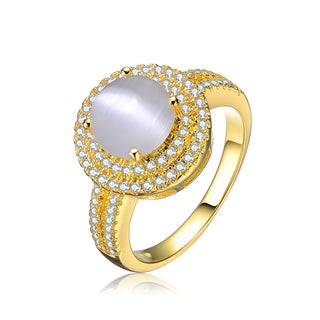 Collette Z Goldplated Sterling Silver Cubic Zirconia Round Ring (Size 6)