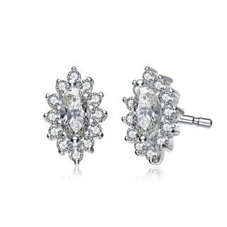 Collette Z Sterling Silver Cubic Zirconia Oval Shape Earrings