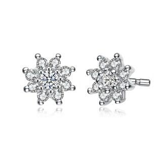 Collette Z Sterling Silver Cubic Zirconia Fine Flower Shape Earrings