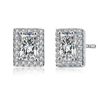 Collette Z Sterling Silver Cubic Zirconia Square Shape Earrings