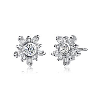 Collette Z Sterling Silver Cubic Zirconia Fine Flower Shape Earrings