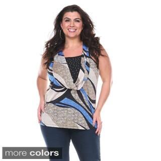 Stanzino Women's Plus Size Stretchy Sleeveless Cowl Neck Blouse