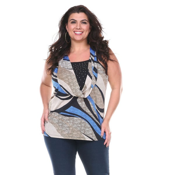 ee6d917ece7 Shop Stanzino Women s Plus Size Stretchy Sleeveless Cowl Neck Blouse ...