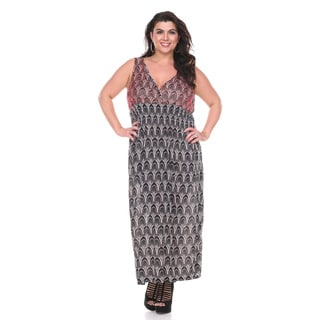 Stanzino Women's Plus Size Sleeveless V neck Printed Maxi Dress