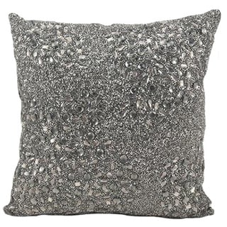 Mina Victory Luminescence Fully Beaded Pewter Throw Pillow (20-inch x 20-inch) by Nourison