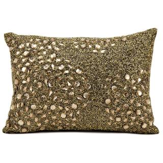 Mina Victory Luminescence Fully Beaded Amber Throw Pillow (10-inch x 14-inch) by Nourison