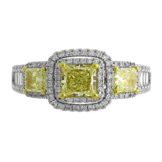 Azaro 18k Two-tone Gold 1 7/8ct TDW Princess-cut Fancy Yellow Diamond Engagement Ring (G-H, SI-SI2)