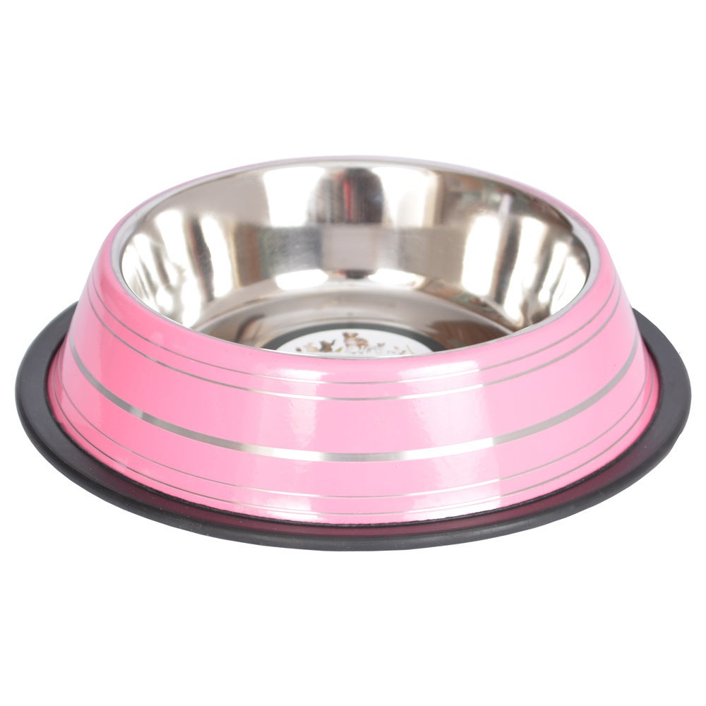 Iconic Pet Non-Skid Stainless Steel Bowl Assortment (Pink...