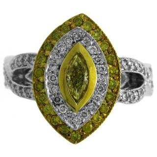 Azaro 18k Two-tone Gold 1 1/10ct TDW Diamond Marquise Ring (G-H, SI1-SI2)