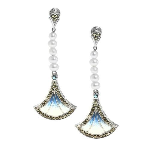 Dallas Prince Silver Marcasite, blue topaz, Pearl and Enamel Fan Earrings