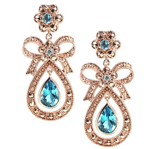 Dallas Prince Sterling Silver Marcasite & Blue Topaz Earrings