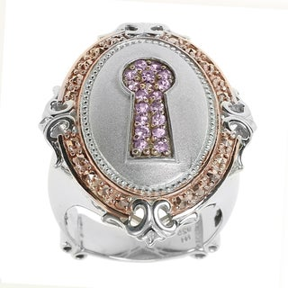 Dallas Prince Silver Sapphire and Chrome Marcasite Keyhole Ring