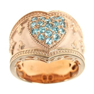 Dallas Prince Silver Blue Topaz Etruscan Heart Ring