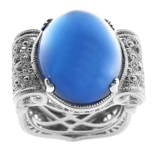 Dallas Prince Silver Blue Agate Filigree Ring|https://ak1.ostkcdn.com/images/products/10152105/P17280939.jpg?impolicy=medium
