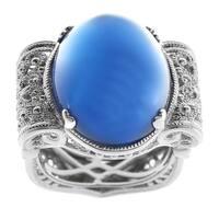 Dallas Prince Silver Blue Agate Filigree Ring