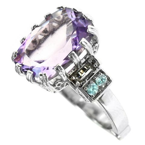 Dallas Prince Sterling Silver Amethyst and Praseolite Filigree Ring