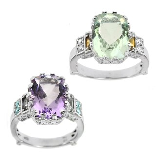Dallas Prince Sterling Silver Amethyst and Praseolite Filigree Ring (More options available)