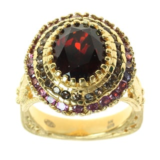 Dallas Prince Sterling Silver Classic Oval Ring with Garnet, Smokey Quartz and Rhodolite Ring