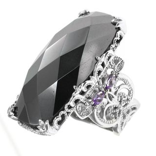 Dallas Prince Sterling Silver Hematite and Amethyst Ring