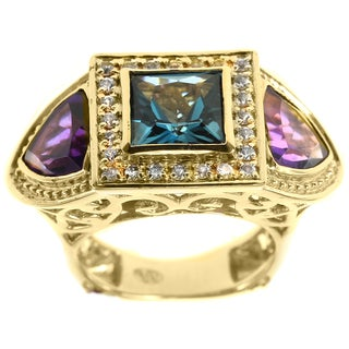Dallas Prince Sterling Silver Amethyst and Blue Topaz Trinity Ring