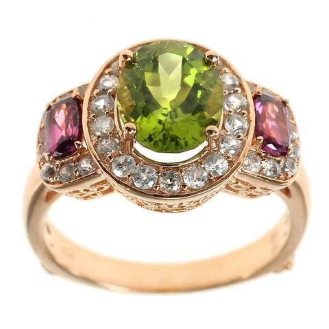 Dallas Prince Sterling Silver Peridot & Rhodolite Ring with Zircon Halo