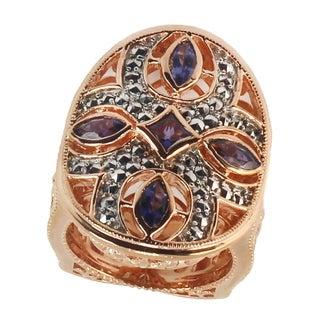 Dallas Prince Silver Silver Silver Iolite and Marcasite Ring