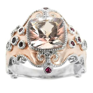 Dallas Prince Sterling Silver Morganite, Ruby & White Sapphire Ring