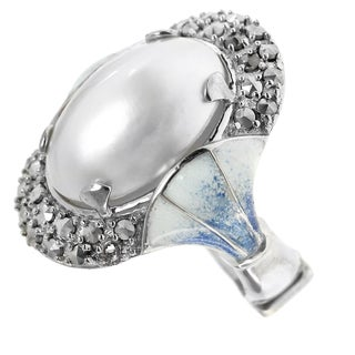 Dallas Prince Silver Mabe Pearl, Marcasite and Enamel Fan Ring