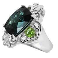 Dallas Prince Sterling Silver London Blue Topaz & Peridot Ring