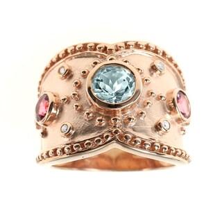 Dallas Prince Gold over Silver Multi Stone Diamond Ring