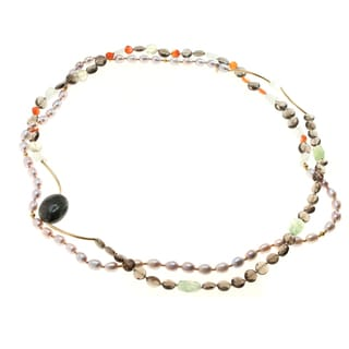 Michael Valitutti Sterling Lavendar Pearl and Multi Gem Wrap Necklace
