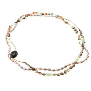 Michael Valitutti Sterling Lavendar Pearl and Multi Gem Wrap Necklace|https://ak1.ostkcdn.com/images/products/10152124/P17280956.jpg?impolicy=medium