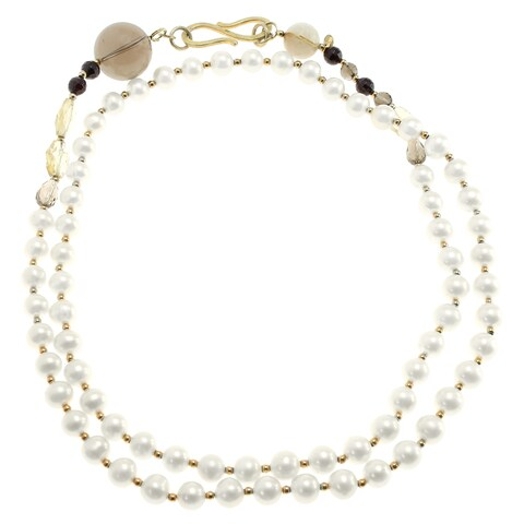 Michael Valitutti Silver Pearl Necklace with Quartz & Garnet