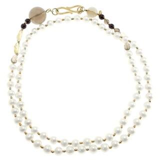 Michael Valitutti Silver Pearl Necklace with Quartz & Garnet