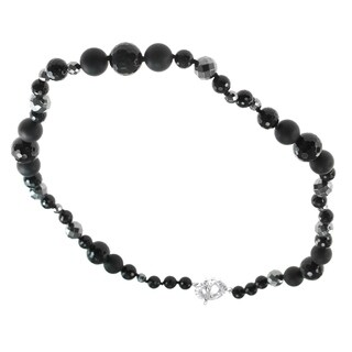 Dallas Prince Silver Hematite and Black Agate Necklace