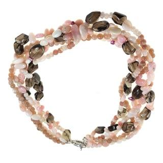 Dallas Prince Sterling Silver Moonstone, Morganite, Opal, Quartz & Pearl Necklace