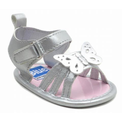 Blue Baby 'P-Fly' Silver Butterfly Sandals
