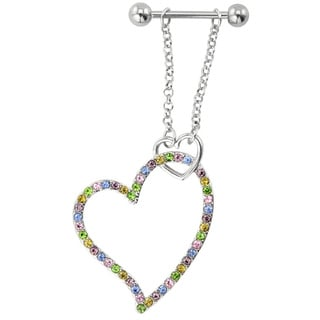 Supreme Jewelry Dangling Multi-colored Stone Heart Nipple Ring Pair