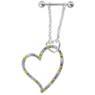 Supreme Jewelry Dangling Multi-colored Stone Heart Nipple Ring Pair