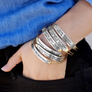 Sweet Romance Inspirational Quote Motivational Message Bangle Bracelet
