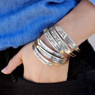 Sweet Romance Inspirational Quote Motivational Message Bangle Bracelet|https://ak1.ostkcdn.com/images/products/10152219/P17280977.jpg?impolicy=medium