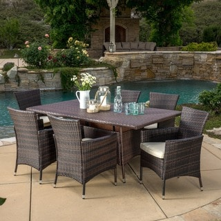Jennifer Outdoor 7-piece Wicker Dining Set with Cushions by Christopher Knight Home