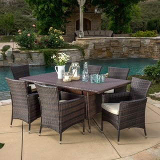 Jennifer Outdoor 7-piece Wicker Dining Set with Cushions by Christopher Knight Home|https://ak1.ostkcdn.com/images/products/10152226/P17281596.jpg?impolicy=medium