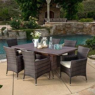 Jennifer Outdoor 7 Piece Wicker Dining Set With Cushions By Christopher  Knight Home
