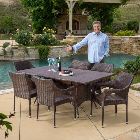 Sinclair Outdoor 7-piece Wicker Dining Set by Christopher Knight Home