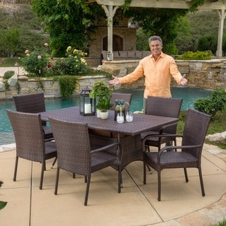 Dunham Outdoor 7-piece Wicker Dining Set by Christopher Knight Home