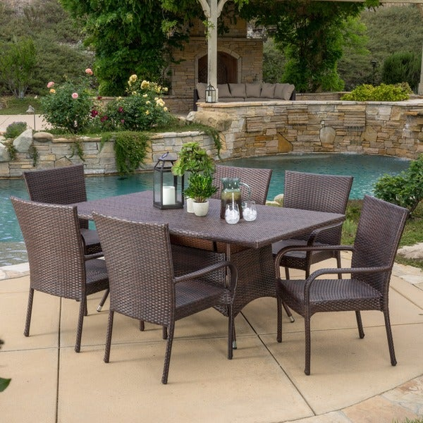 knight home rudolph outdoor 7 piece wicker dining set with cushions
