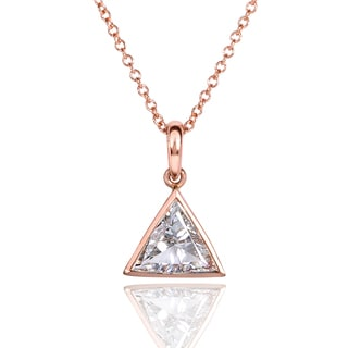 Annello 14k Rose Gold 3/4ct Trillion Cut Solitaire Bezel Diamond Necklace (F-G, VS1-VS2)