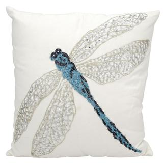 Mina Victory Indoor/Outdoor Beaded Dragonfly Blue Throw Pillow (18-inch x 18-inch) by Nourison